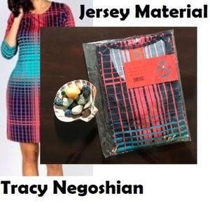 Fun 3/4 Sleeves Jersey Dress - Pink Stripes - M